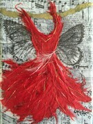Red Butterfly Dress, SOLD