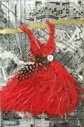 Red Fairy Dress with Polka Dot Feather, SOLD