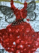 Red Feathered Fairy Dress SOLD